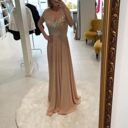 Champagne Chiffon Evening Dress wit..