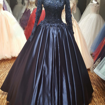 Navy Blue Ball Gown Prom Dress with..