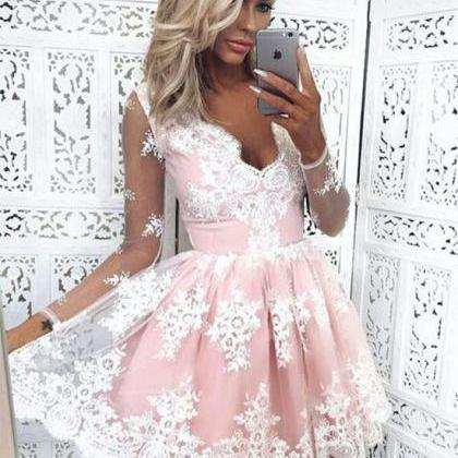 Lace Mid-Length Ballgown with Long ..
