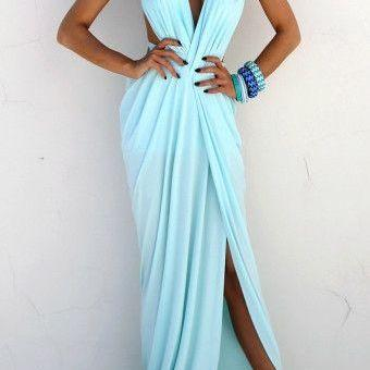 Baby Blue Ruched Chiffon Maxi Gown ..