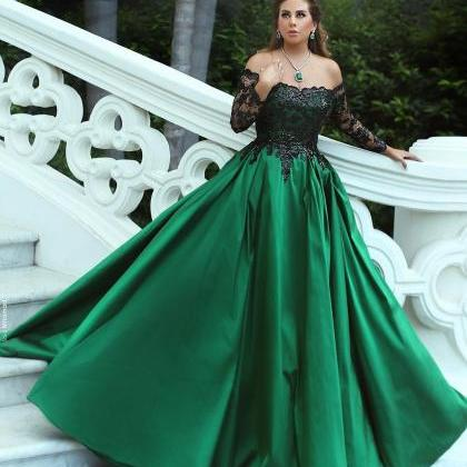 Off the Shoulder Green Satin Prom B..