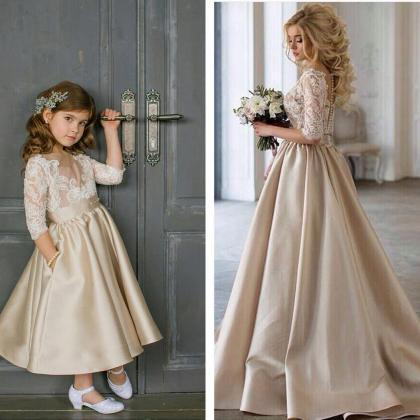 Lovely Ankle Length Satin Flower Gi..
