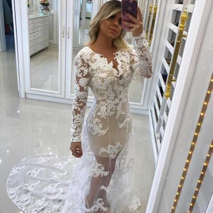 Lace Appliques Tulle Overlay Mermai..