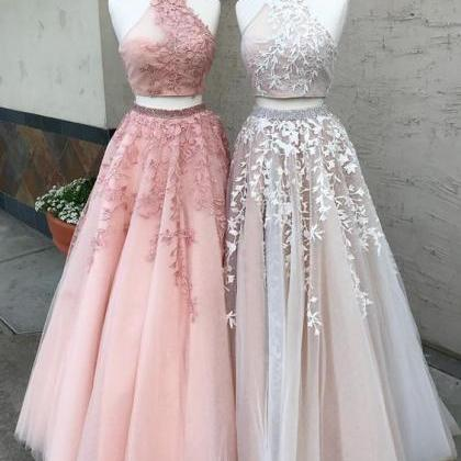 Open Back Two Piece Ball Gown Prom ..