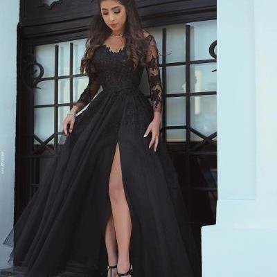 Said Mhamad 2017 Black Prom Dresses with Long Sleeves Lace Appliques Sexy Side Slit Party Gowns Women Dresses Ball Gown Prom Dress