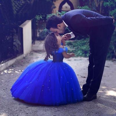 Cinderella Flower Girl Dresses 2017 Royal Blue Pageant Dress for Girls , First Communication Gowns ,Butterfly Flower Girls Dress with Crystals ,Kid Gowns,Said Mhamad Dresses