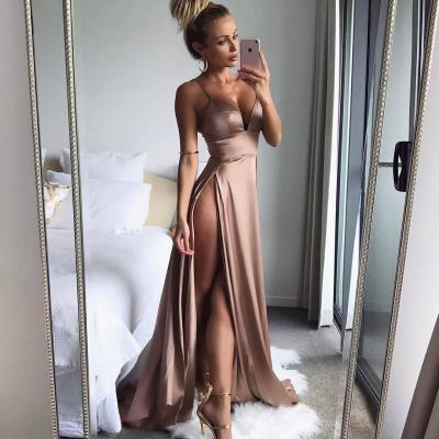 Evening Dress ,Thigh High Slits Sexy Evening Dress 2017 Elastic Satin Concise Long Party Gowns Spaghetti Straps Deep V neck Hot Evening Dresses