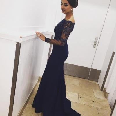 Evening Dress ,Elegant Long Sleeves Mermaid Evening Dress 2017 Dark Blue Beaded Lace Appliques Off Shoulder Party Formal Gowns Evening Dresses New