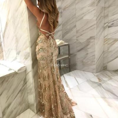 Sparkly Lace Mermaid Evening Dress , V Neck Backless Long Prom Dress