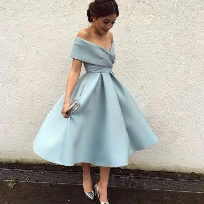 Short Off-the-Shoulder Prom Dress with Pockets, Midi Dresses