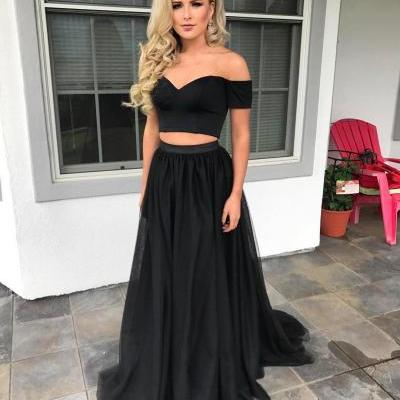 Long Two Piece Off the Shoulder Sweetheart Prom Dress