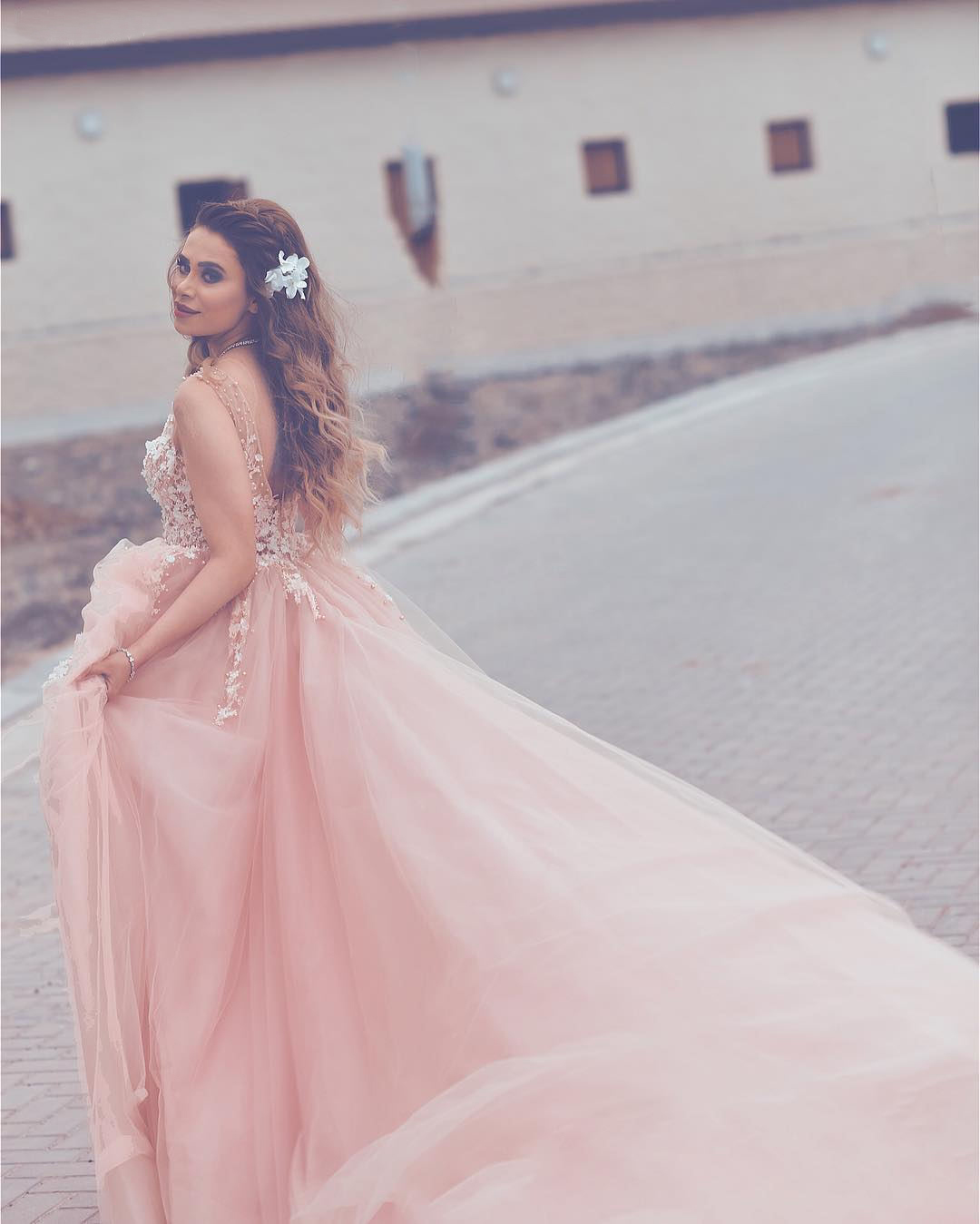 Opening Back Long Prom Dresses with Pearls Lace Appliques ,Soft Tulle Puffy Party Gowns for Special Occasion ,Elegant Formal Dress