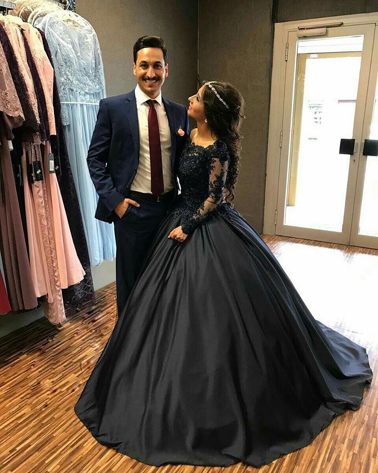 c2d529d144529 Black Satin Ball Gown Formal Dresses 2018 Sheer Long Sleeves with Lace  Appliques Most Beautiful Evening