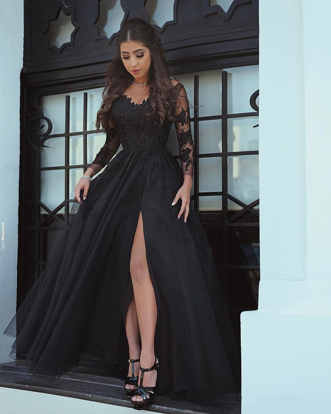 765e086978df Said Mhamad 2018 Black Prom Dresses with Long Sleeves Lace Appliques Sexy Side  Slit Party Gowns