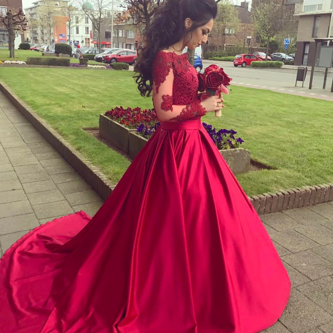 731f659cd9fb3 Evening Dress ,Soft Satin Ball Gown Evening Dress Elegant Off Shoulder Long  Lace Sleeves Party Prom Dresses Red Evening Gowns Vestidos Longo
