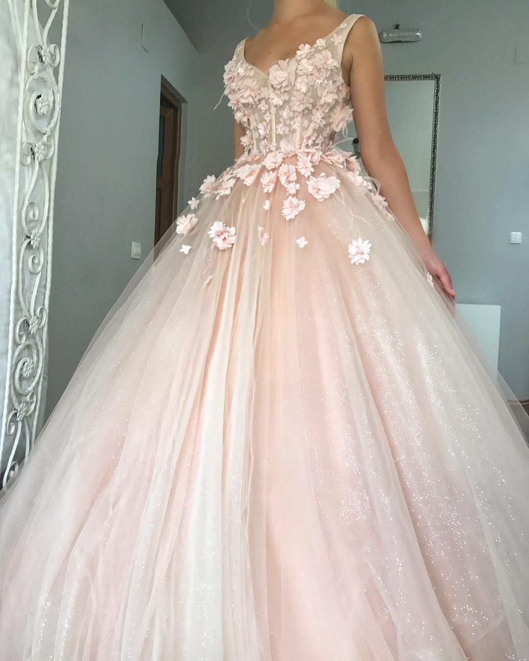 Image result for ball gown prom dress floral