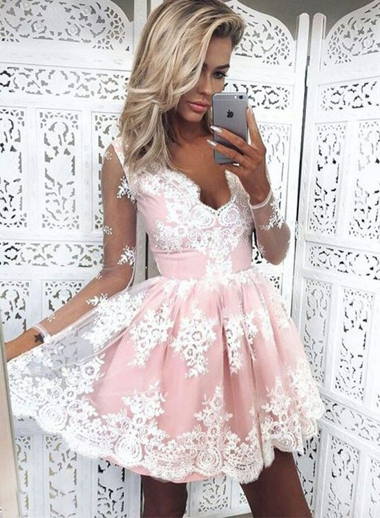Lace Mid-Length Ballgown with Long Sleeves