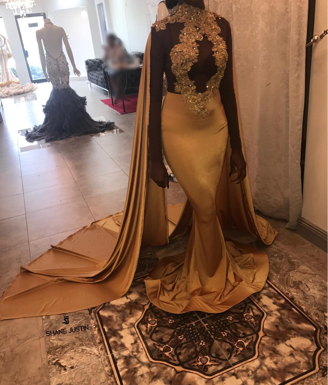 0a1ae7ae699f Gold Evening Dress High Neck Mermaid Gown For African Women on Luulla