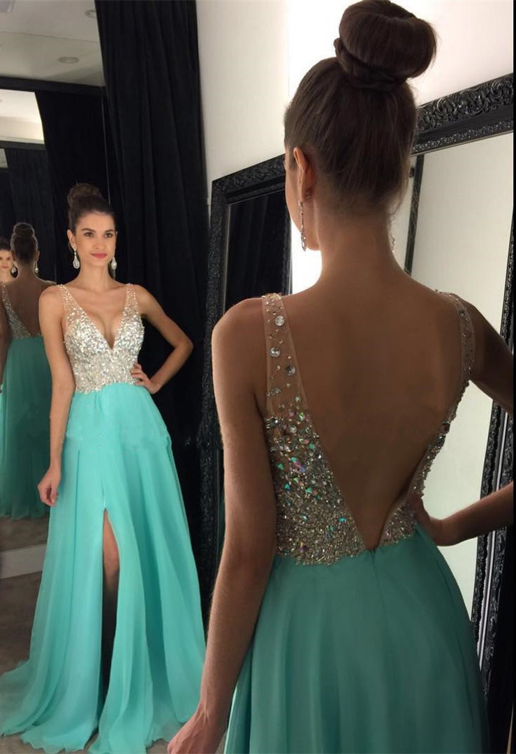Backless Deep V-Neck Chiffon Long Prom Dress With Side Slit on Luulla 21685e7f6