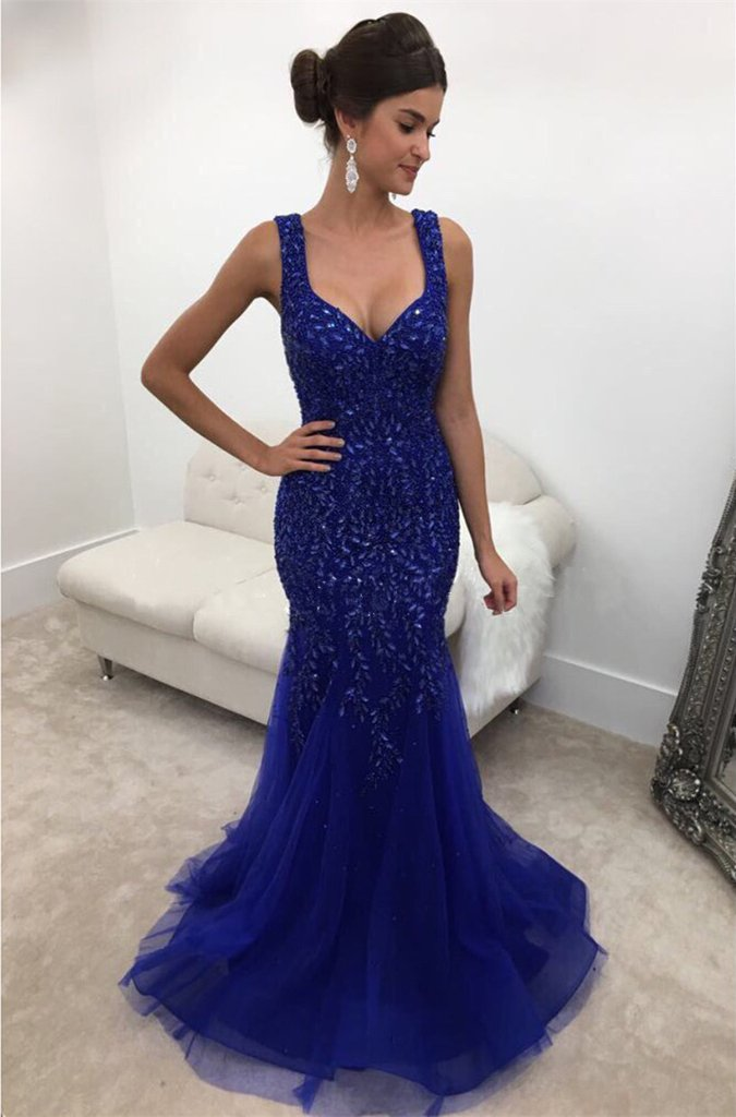 Backless Long Crystal Beaded Mermaid Evening Dress in Dark Royal Blue