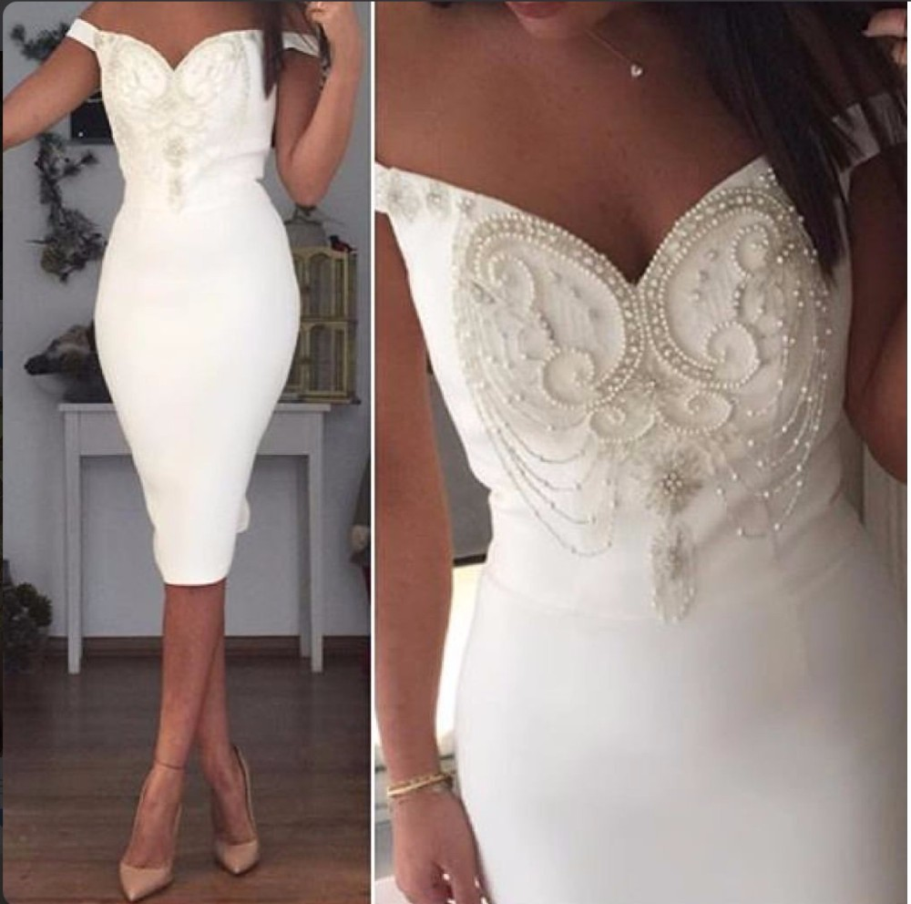 Short Off-the-Shoulder Sheath Prom Dress, White Pearls Midi Gown