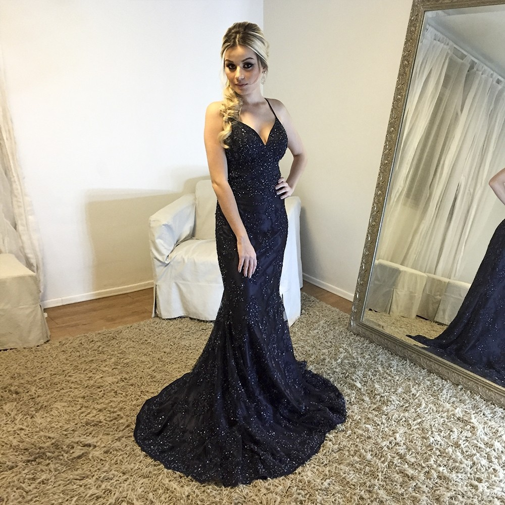 24b415d9f25 Backless V neck Mermaid Evening Dress with Beaded Lace Appliques,Long Prom  Gown