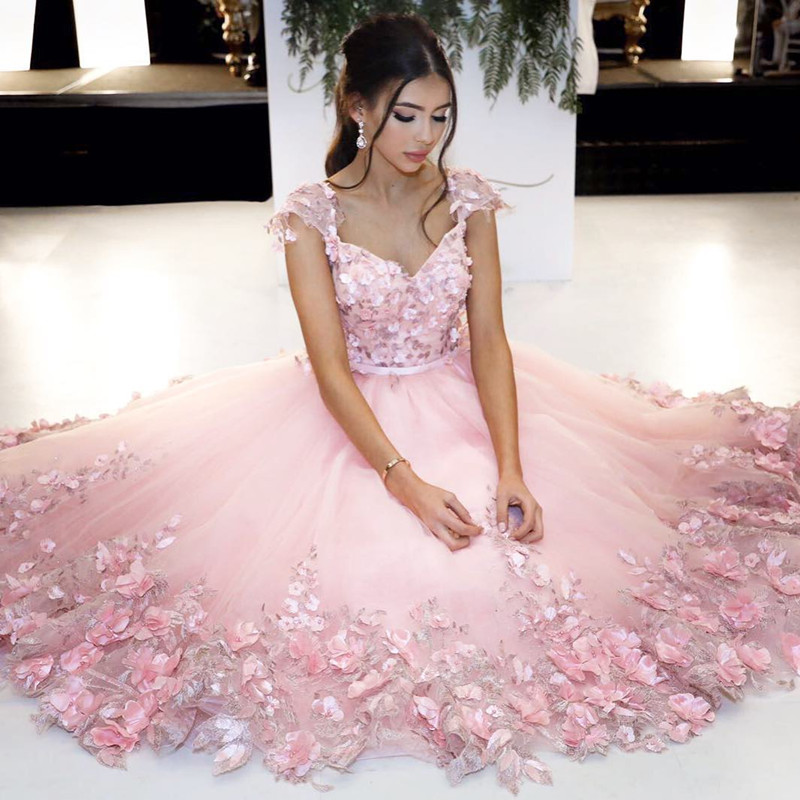 827736bccd4 Baby Pink Flowers Prom Dress, V Neck Cap Sleeves Cute Floral Gowns ...