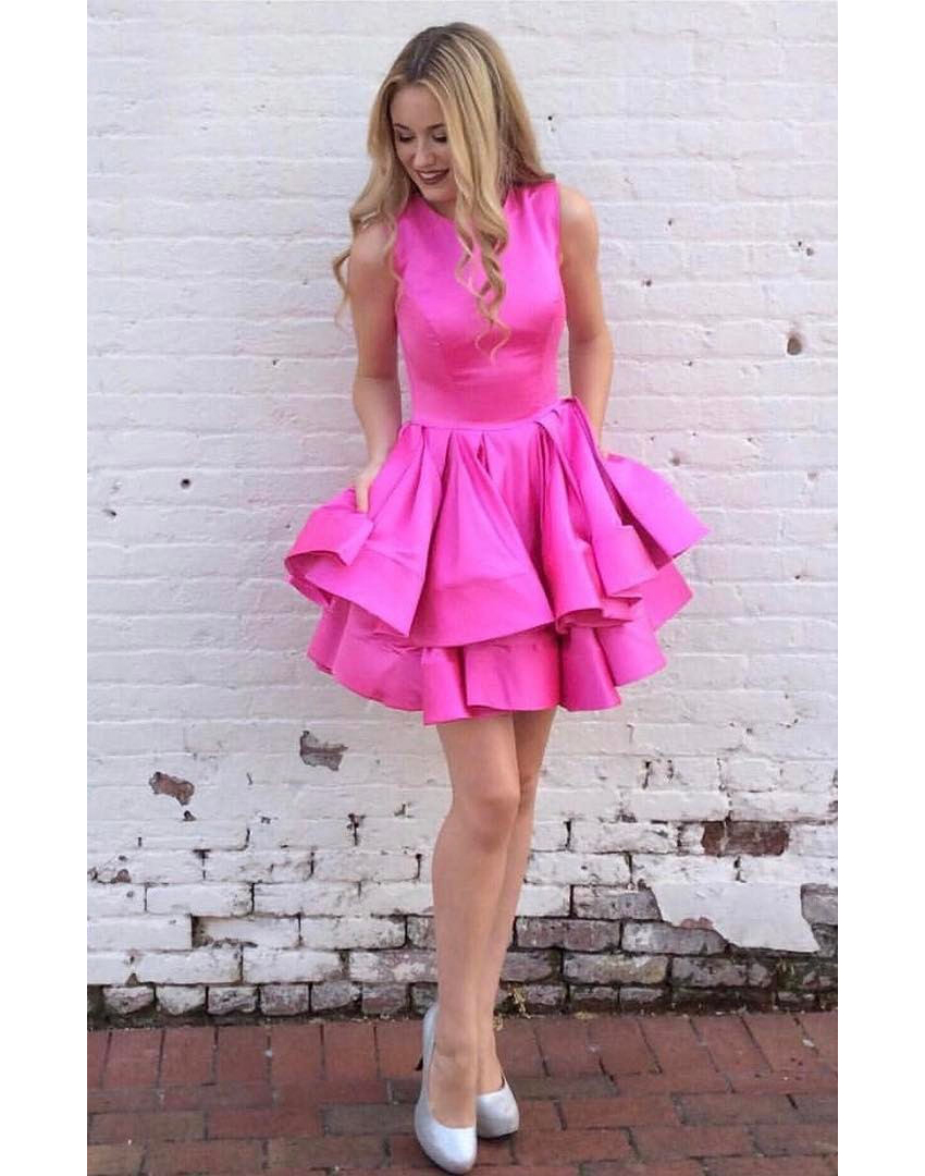 6ebaec8e665 Tired Skirt Homecoming Dress ,Short Satin Party Ball Gown on Luulla