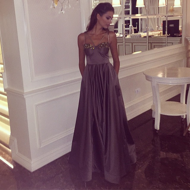 Sparkly Sweetheart Chocolate Satin Evening Dresses Long Prom Gowns