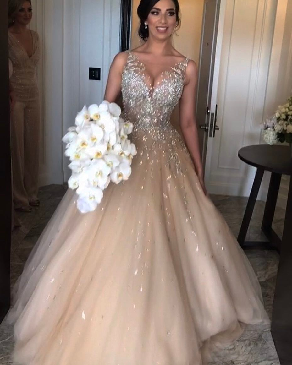 Sleeveless Sparkly Champagne Wedding Dress Puffy Tulle Bridal Ball ...