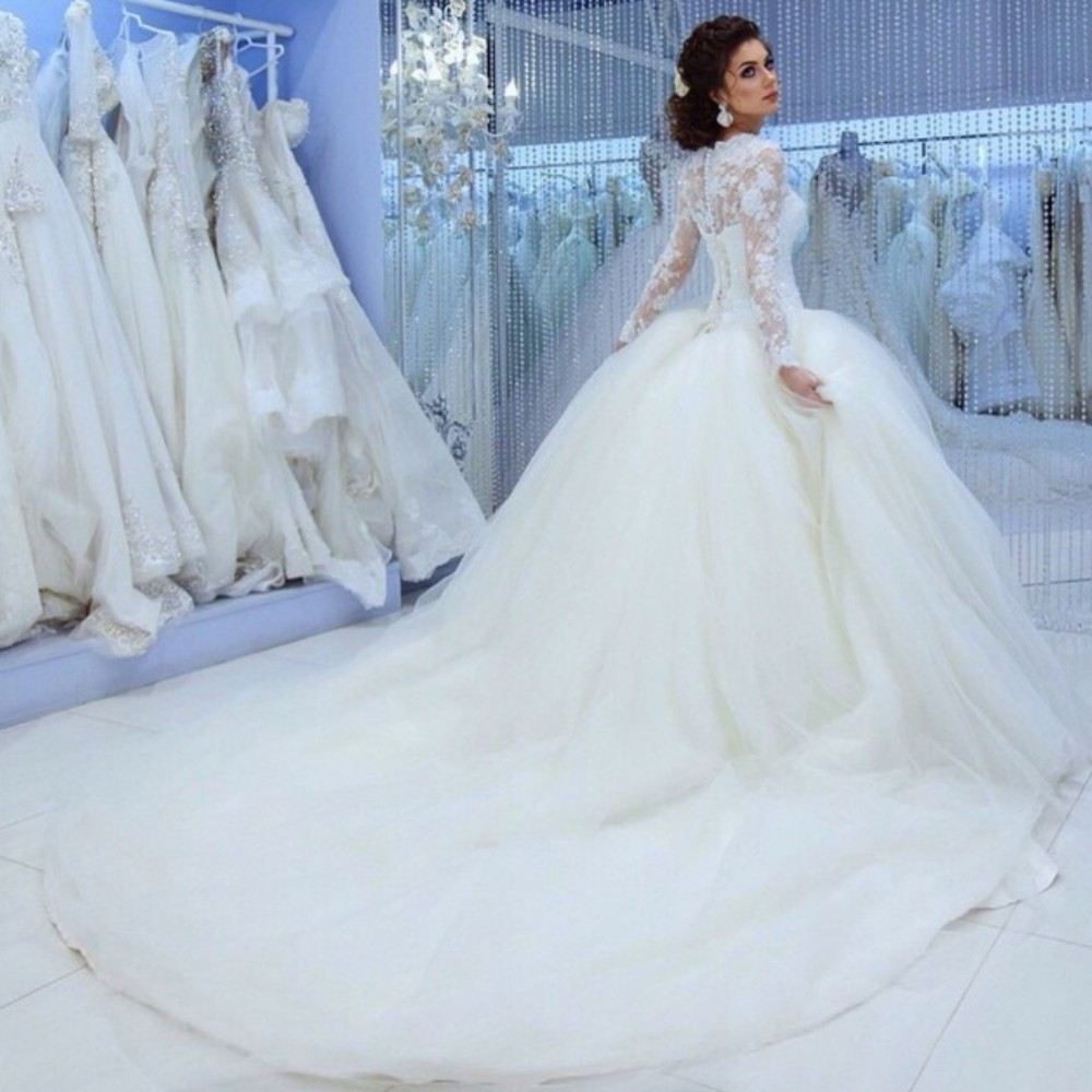 Royal Train Long Sleeves Lace Corset Bridal Ball Gowns Princess Wedding Dresses Luxury