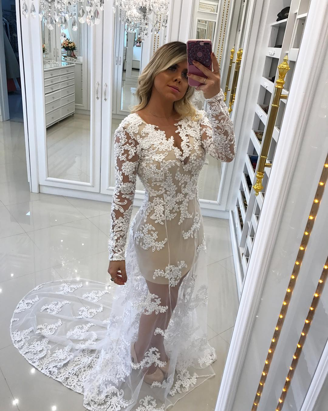 Lace Appliques Tulle Overlay Mermaid Evening Dresses Formal Gowns Long Sleeves