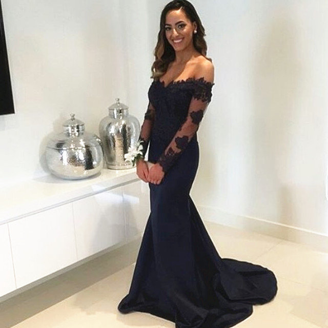 b02429c6d4 Navy Blue Off Shoulder Mermaid Prom Dress Formal Gowns Long Lace Sleeves
