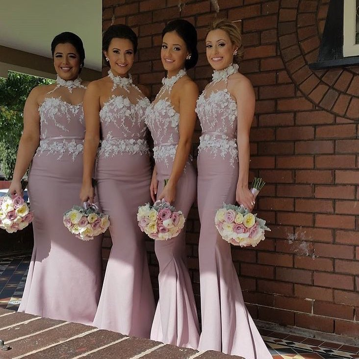 Beautiful High Neck Mermaid Bridesmaid Dresses Long with 3D Flowers
