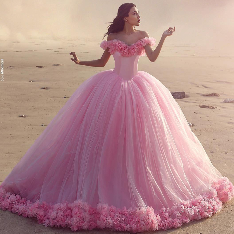 c6d6b644ab177 Off The Shoulder Tulle Flower Quinceanera Dresses Ball Gowns