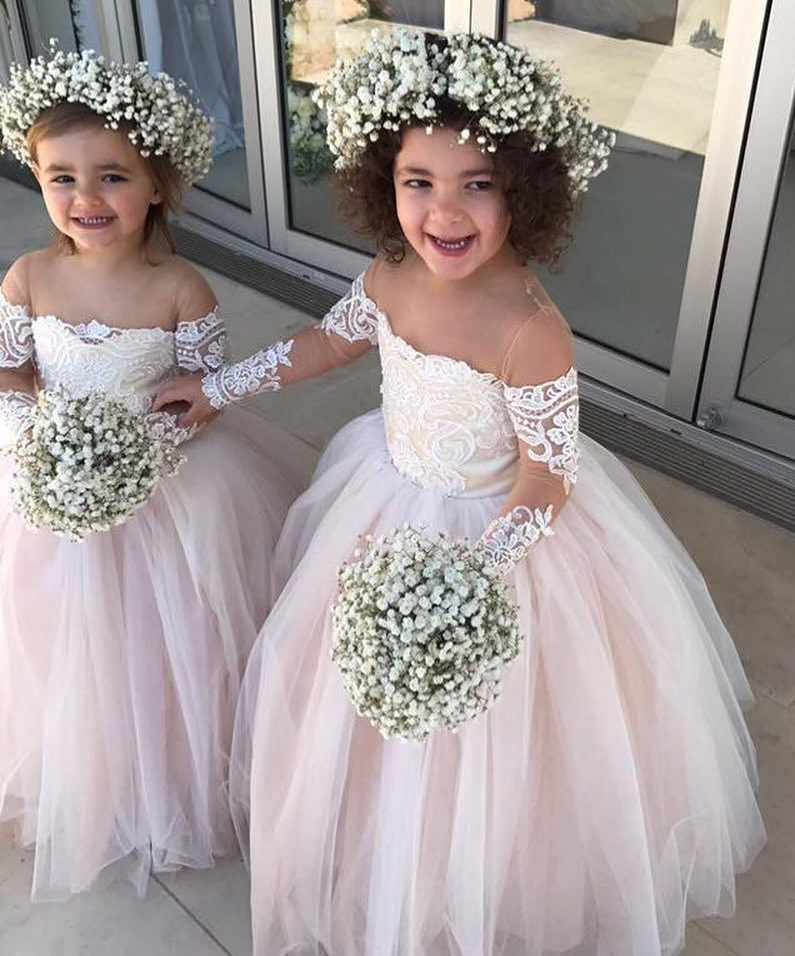 Flower Girl Dresses For Garden Weddings: Princess Ball Gown Tulle Flower Girl Dresses With Long