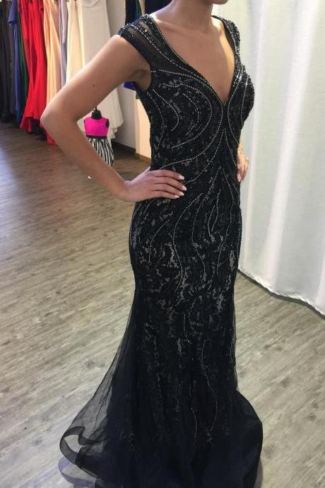 Black Lace Mermaid Evening Dress Crystals Beaded Deep V neck Sexy Women Formal Gowns Back Keyhole Long Party Dress Top Quality