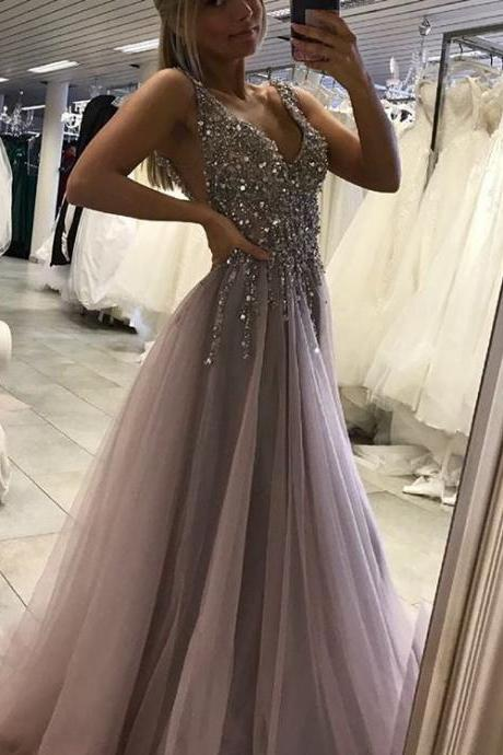 Sparkling Long Prom Dresses Plunging Neckline Sexy A line Party Gowns Soft Tulle V neck Prom Dress for Special Occasion, New Design Prom Dress