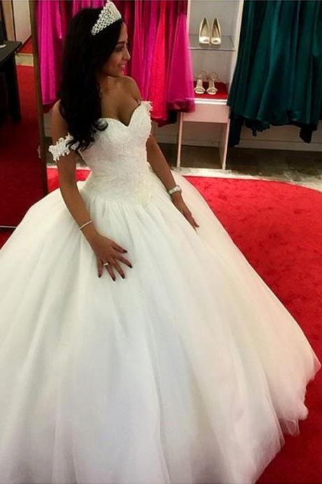 Classic Princess Wedding Dress New Short Lace Sleeves Off Shoulder Bridal Wedding Gowns Ball Gown Bride Dresses vestido de noiva casamento