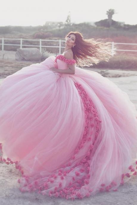 Baby Pink Quinceanera Dresses Ball Gown Party Dress for 15 16 Years Hand Make Flowers Sweetheart Quinceanera Dress Hot Sale Quinceanera Gowns