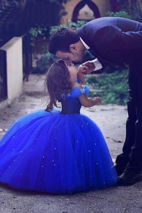 Cinderella Flower Girl Dresses Royal Blue Pageant Dress for Girls , First Communication Gowns ,Butterfly Flower Girls Dress with Crystals ,Kid Gowns,Said Mhamad Dresses