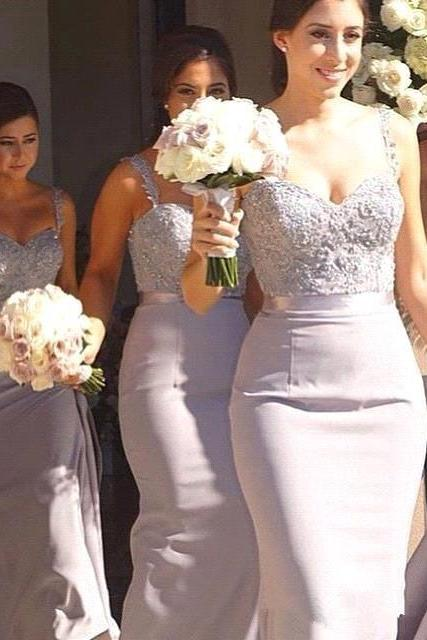 Classic Mermaid Bridesmaid Dresses Elegant Long Bridesmaid Gowns with Straps Lace Appliques Maid of Honor Dress for Weddings Formal Party Gowns