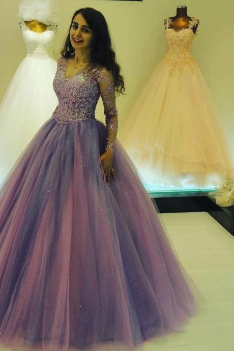 Glitter Ball Gown Prom Dresses with Long Sleeves V neck Elegant Long Party Gowns for Special Occasion Bling Lace Appliques Princess Prom Dress
