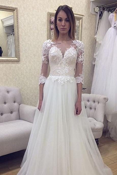 Vintage Beach Wedding Dress A line Scoop Neckline Lace Appliques Romantic Half Sleeve Bridal Dresses Tulle Court Train Wedding Gowns vestidos de novia