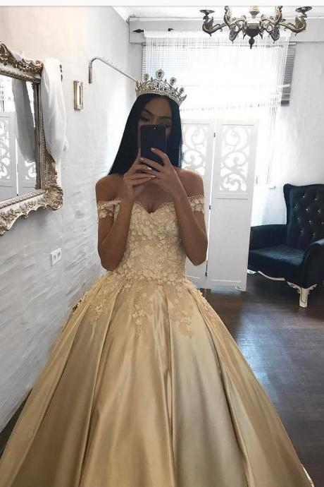 Champagne Prom Dress New Fashion Long Ball Gown Off Shoulder Flowers Puffy Satin Prom Dresses Party Gowns Robe De Soiree,Evening Dress