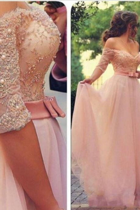 Stunning Beaded Pink A-Line Prom Dresses Party 2017 Elegant Off the Shoulder Half Sleeves Evening Gowns Dress Pearls Robe De Soiree
