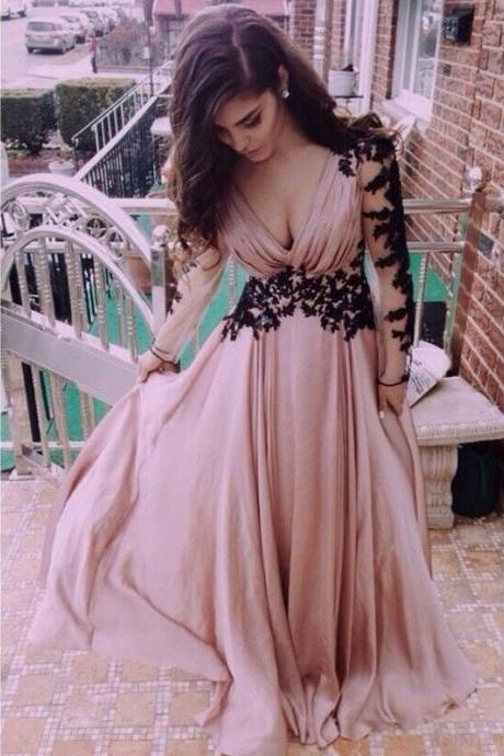 Evening Dress ,Sexy Long Sleeves Evening Dress Black Lace Appliques Deep V neck Chiffon Party Gowns Long Prom Dress Elegant Evening Dress