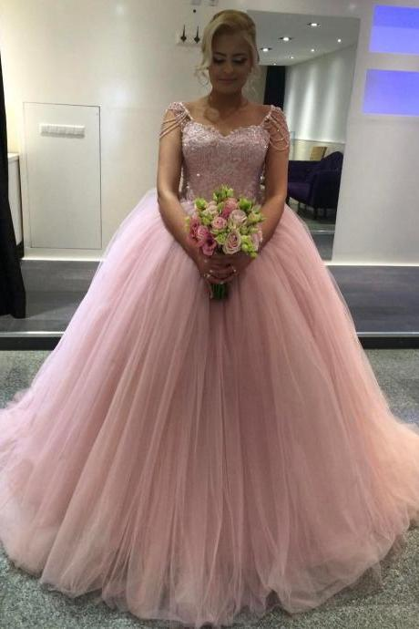 Wedding Dress , Lovely Pink Ball Gown Wedding Dress with Beading Cap Sleeves 2017 Princess Bridal Dresses Sparkly Appliques Long Wedding Gowns