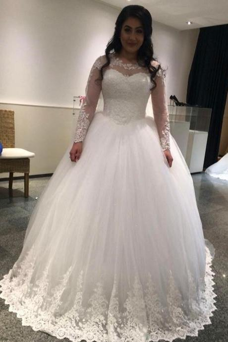 Wedding Dress , Romantic Long Sleeves Wedding Dress Princess Bridal Dresses with Beautiful Lace Appliques Ball Gown Bride Wedding Gowns casamento