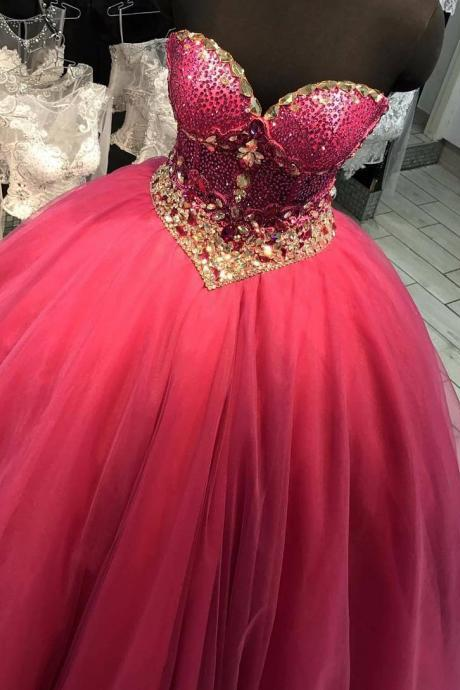 Stunning Ball Gown Arabian Prom Dresses Sweetheart Neckline Beaded Puffy Long Red Prom Gowns Sexy Sheer Corset Women Formal Occasion Dress